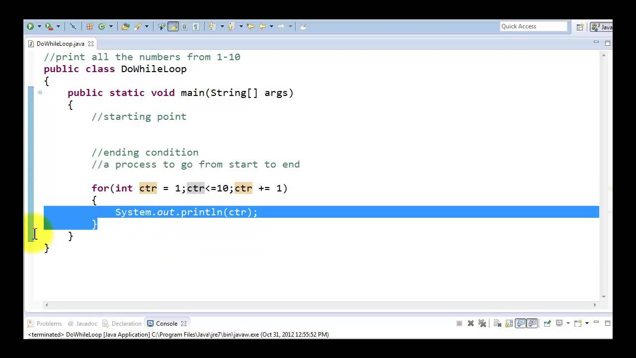 Java Tutorial - Count Controlled For Loop