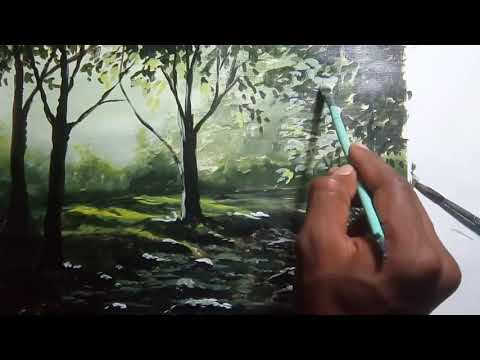Oil paintings art | for beginners | Tree's landscape water painting art