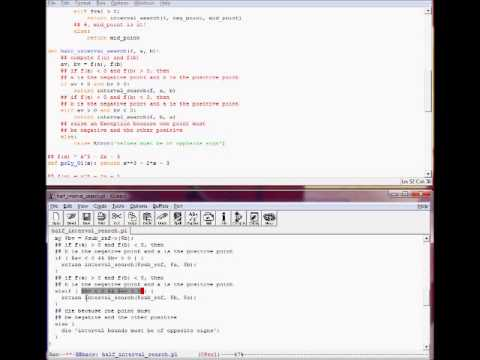 python perl half interval search for solving f x 0 part 02