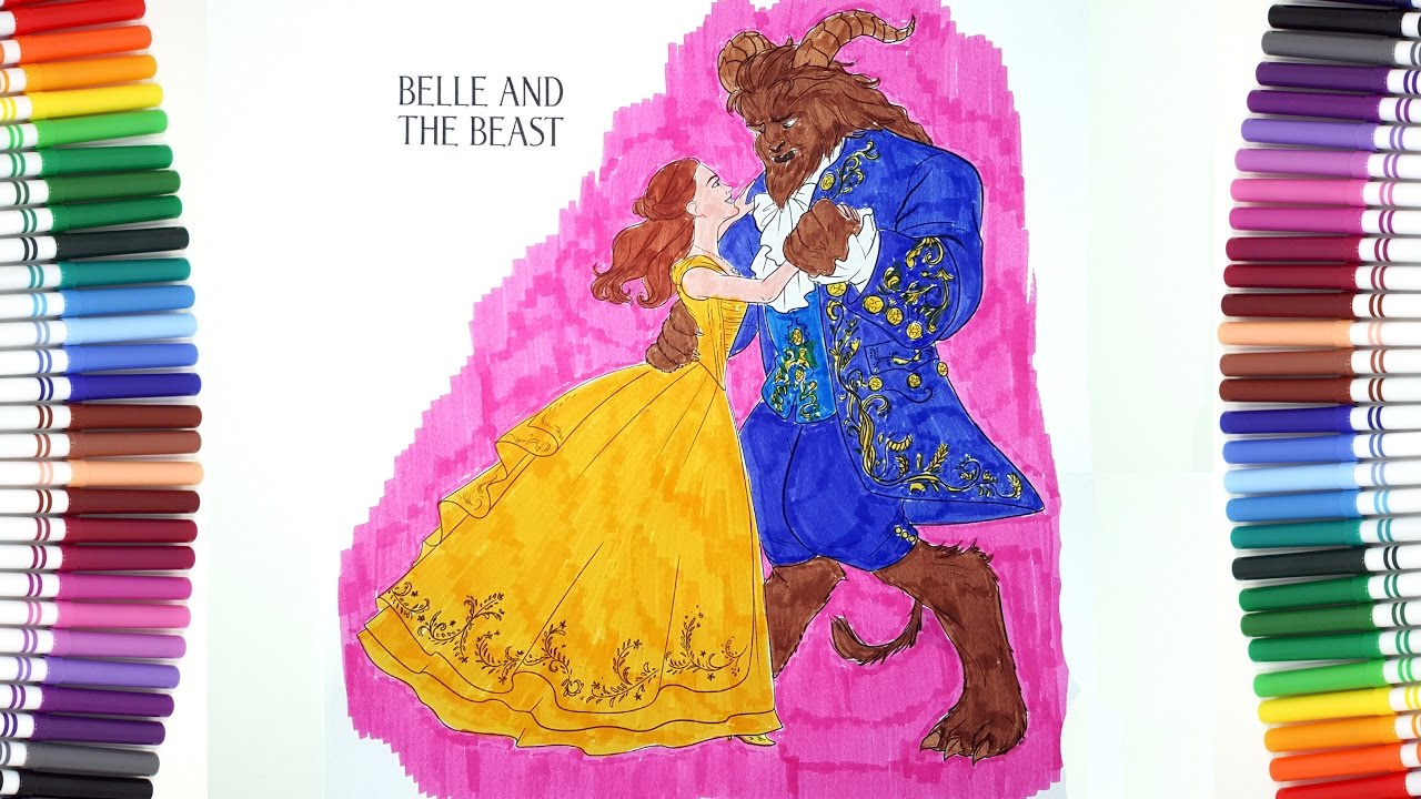 BEAUTY AND THE BEAST Movie 2017 Belle And The Beast Dancing Coloring Pages