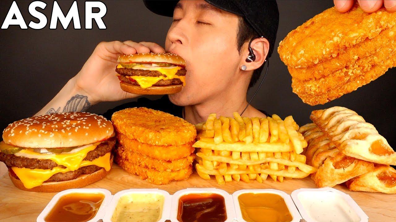 ASMR DOUBLE CHEESEBURGER, HASH BROWNS, FRIES & APPLE PIES MUKBANG (No Talking) EATING SOUNDS