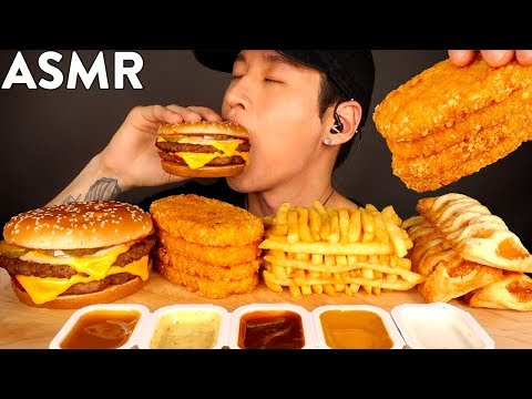 ASMR DOUBLE CHEESEBURGER, HASH BROWNS, FRIES & APPLE PIES MUKBANG (No Talking) EATING SOUNDS