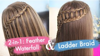 One of Cute Girls Hairstyles's most viewed videos: Feather Waterfall & Ladder Braid Combo | Cute 2-in-1 Hairstyles