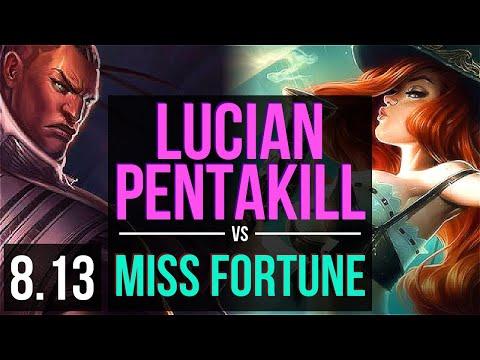LUCIAN vs MISS FORTUNE (ADC) ~ Pentakill, Quadrakill, KDA 21/2/9 ~ Korea Diamond ~ Patch 8.13