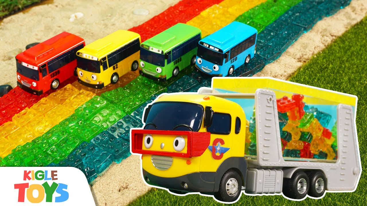 블록 젤리 도로 | 장난감 버스 트럭 무지개 색깔 | 타요 캐리어카 놀이 | 키글 토이 - KIGLE TOYS