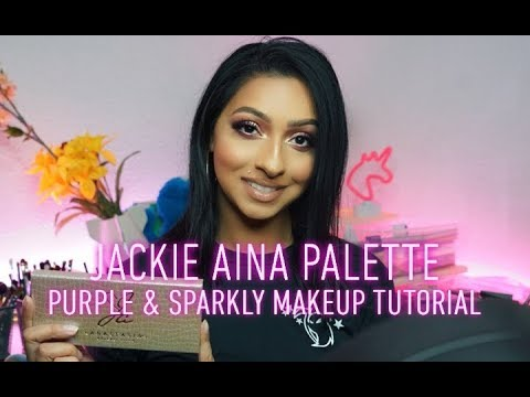 Jackie Aina Palette | Easy Purple Sparkly Makeup Tutorial - No Liner thumbnail