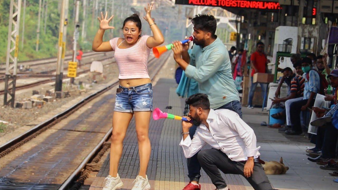 Train Horn Prank on Cute Girls 😳😳Part-4 | PrankBuzz