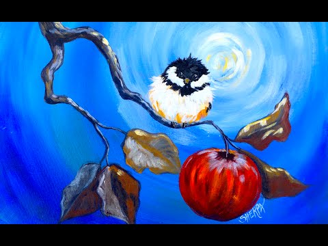 Happy Chickadee and apple branch Beginner Step by Step Acrylic tutorial fall