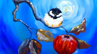 Happy Chickadee and apple branch Beginner Step by Step Acrylic tutorial fall | TheArtSherpa