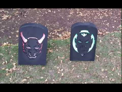 DIY CNC cut Halloween LED lighted tombstone yard decoration prop