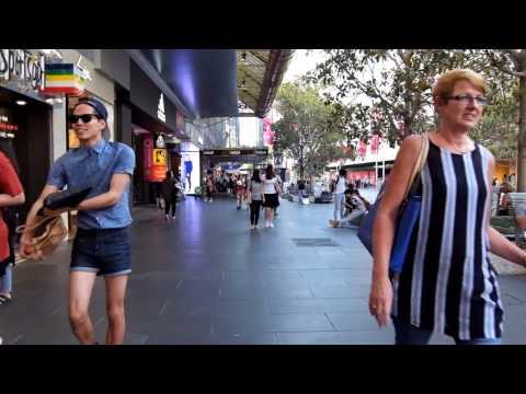 Walking Bourke Street Mall. Melbourne ... Fuji XQ1 1080p  HD