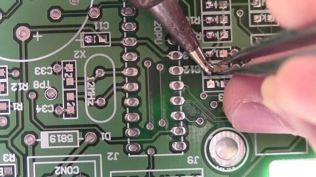 How To Solder Smt 0805 Resistors Capacitors 1 2 Youtube