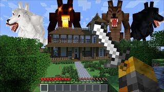GIANT WEREWOLF APPEAR IN OUR HOUSE IN MINECRAFT !! FIGHTING THE WEREWOLVES !! Minecraft Mods