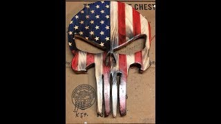 American Punisher Skull Made From Wood