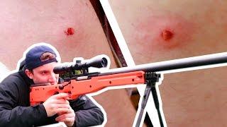 I get SHOT by a SNIPER BB GUN | Challenge Pete