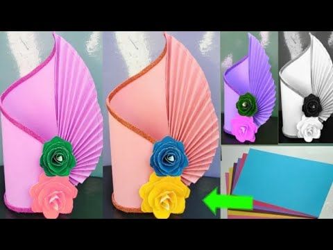 HOW TO MAKE A PAPER FLOWER VASE  EASY FLOWER VASE