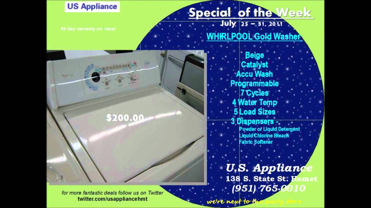 Whirlpool Gold Washer for Sale @ U.S. Appliance - YouTube