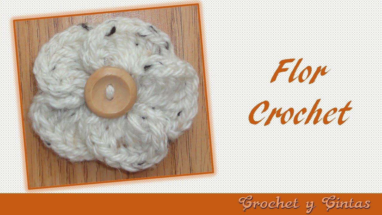 Flor crochet (ganchillo) con botón - YouTube