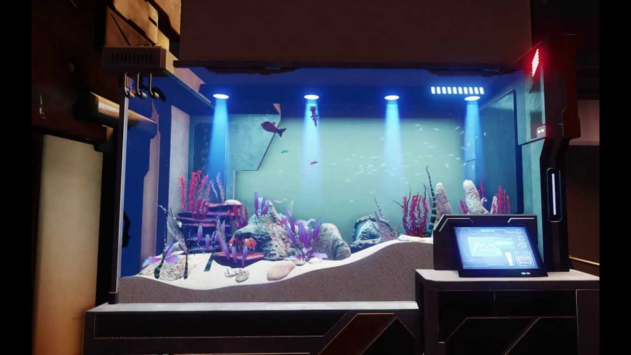 Star citizen hangar decoration fish tank youtube for Aquarium decoration