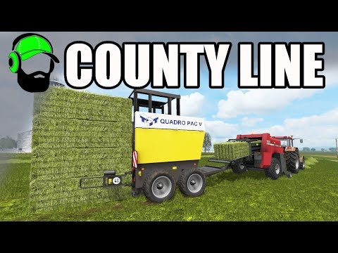 Farming Simulator 17 - County Line - Square baling first cut #FS17