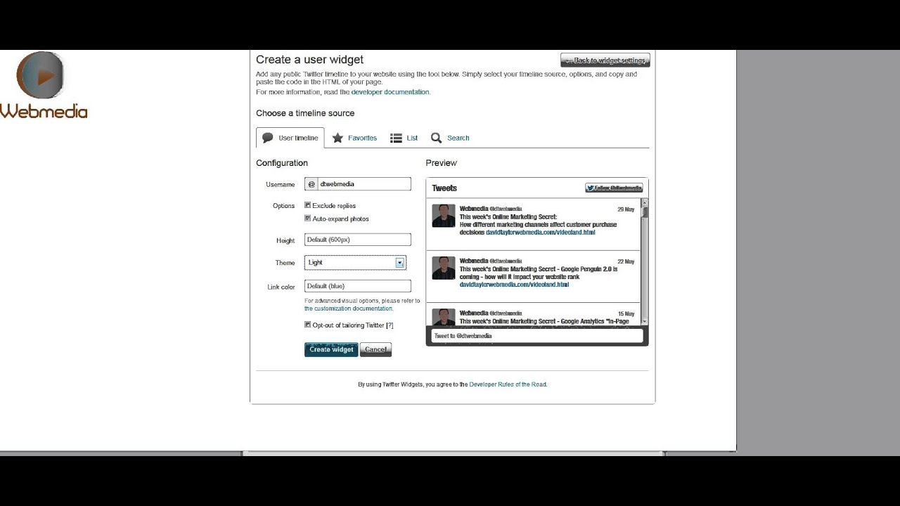 Embed your live Twitter feed in your website