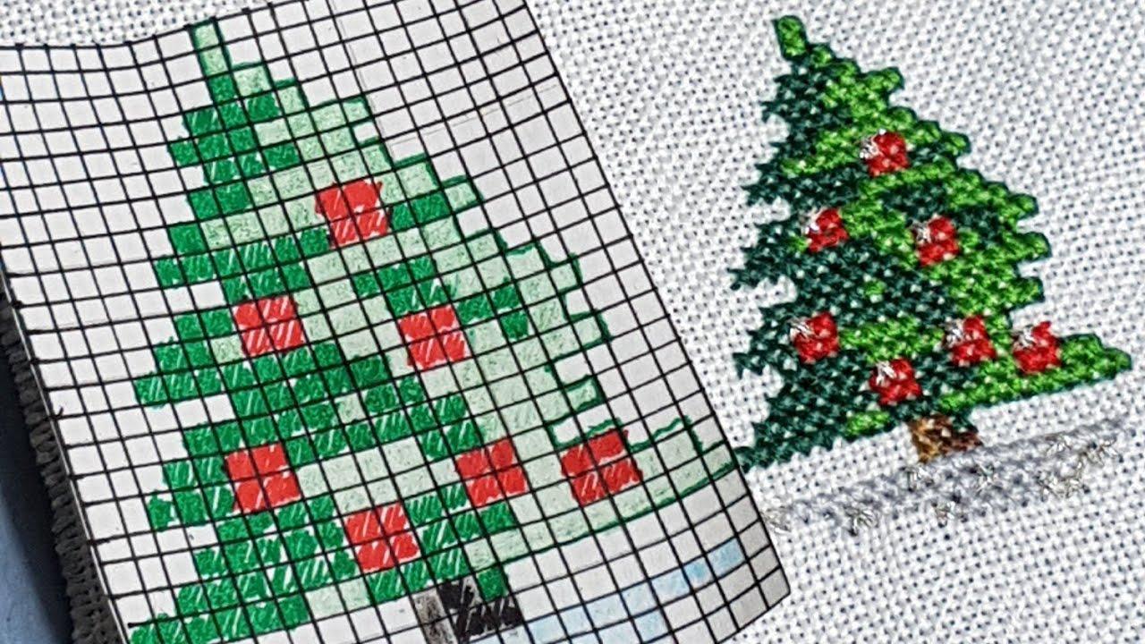 Piccolo Schemi Punto Croce Natale.Alberello Di Natale Punto Croce Parte 1 Youtube
