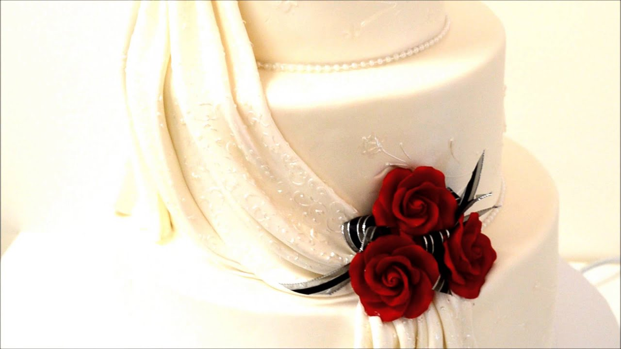 How to make fondant feathers youtube - 3 Tier Wedding Cake Drapes And Flowers