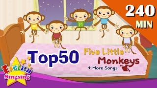 Five Little Monkeys + More Nursery Rhymes | Top 50 Kids songs with lyrics | English kids video