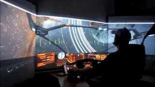 Elite Dangerous Cockpit mit 3 Beamern