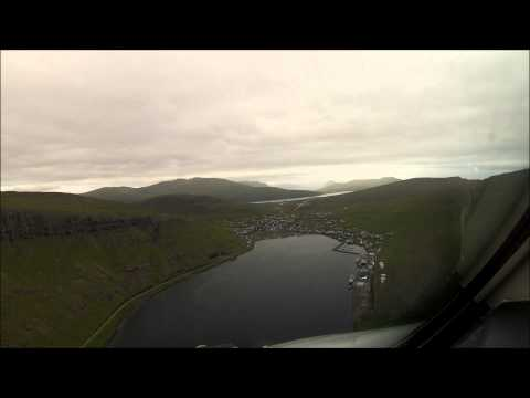 FAST CLOUD SURFING Cockpit video Landing in the Faroe Islands Rwy 12 The fjord. Speeded up 4 times