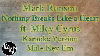 Mark Ronson ft. Miley Cyrus - Nothing Breaks Like a Heart Karaoke Instrumental Male Key Em Video