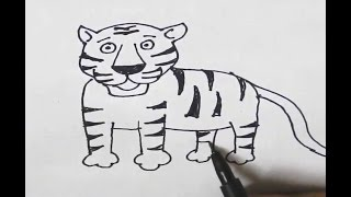 How to draw a Tiger-in easy steps for children, kids, beginners, Step by step.