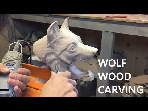 Making A Wolf Wood Carving From The Design to The Finished Product