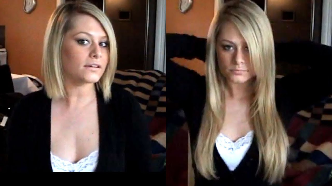 How to clip hair extensions in short hair youtube pmusecretfo Image collections
