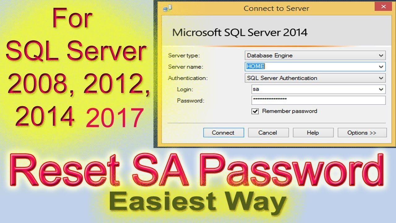 Reset SA password in SQL Server