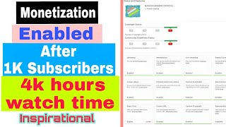 Monetization enabled after 4k hours watch time & 1k subscribers.👍🏼Thank you YouTube team !!