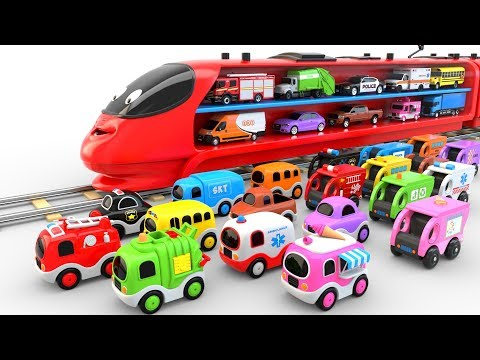 Colors for Children to Learn with Train Transporter Toy Street Vehicles - Educational Videos