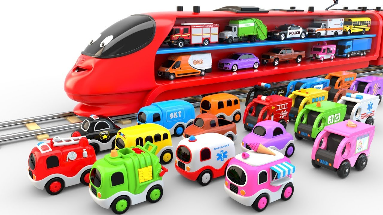 Colors For Children To Learn With Train Transporter Toy