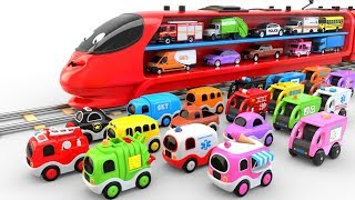 Colors for Children to Learn with Train Transporter Toy Street Vehicles - Educational Videos thumbnail