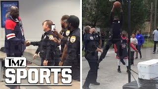 Shaq -- Surprises Basketball Cop ... Game On!!! | TMZ Sports