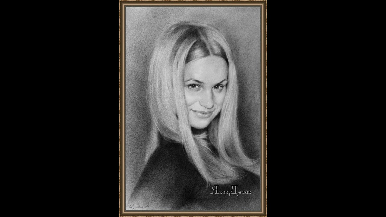 Рисунок - Сухая кисть. Портрет красивой блондинки - YouTube
