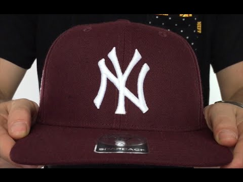 Yankees  SURE-SHOT SNAPBACK  Maroon Hat by Twins 47 Brand - YouTube 47a6e46930e