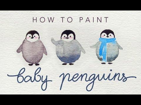 MINI PENGUIN DOODLE watercolor tutorial