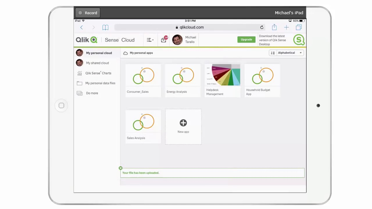 Qlik Sense in 60 - Add Data to the Qlik Sense Cloud from Dropbox on a  Mobile Device