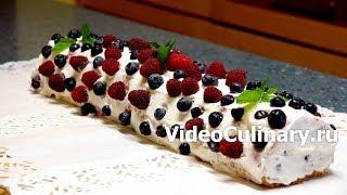Простой бисквитный рулет с голубикой   рецепт Бабушки Эммы