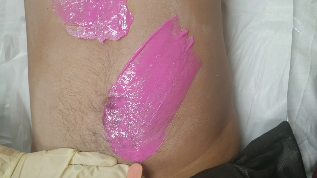 Chest and stomach waxing with Miss Cire hard wax - YouTube