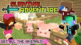 Minecraft Survival Adventure EP6 with Chad Alan and RadioJh Audrey | Get All the Animals! Barn!