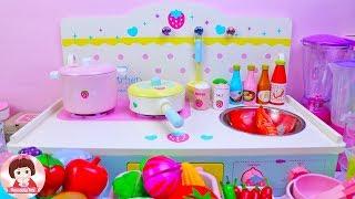 คุณแม่ทำกับข้าว เมนูอาหารหน้าร้อน ของเล่นเครื่องครัวไม้ ของเล่นทำอาหาร ของเล่นผักผลไม้หั่นได้