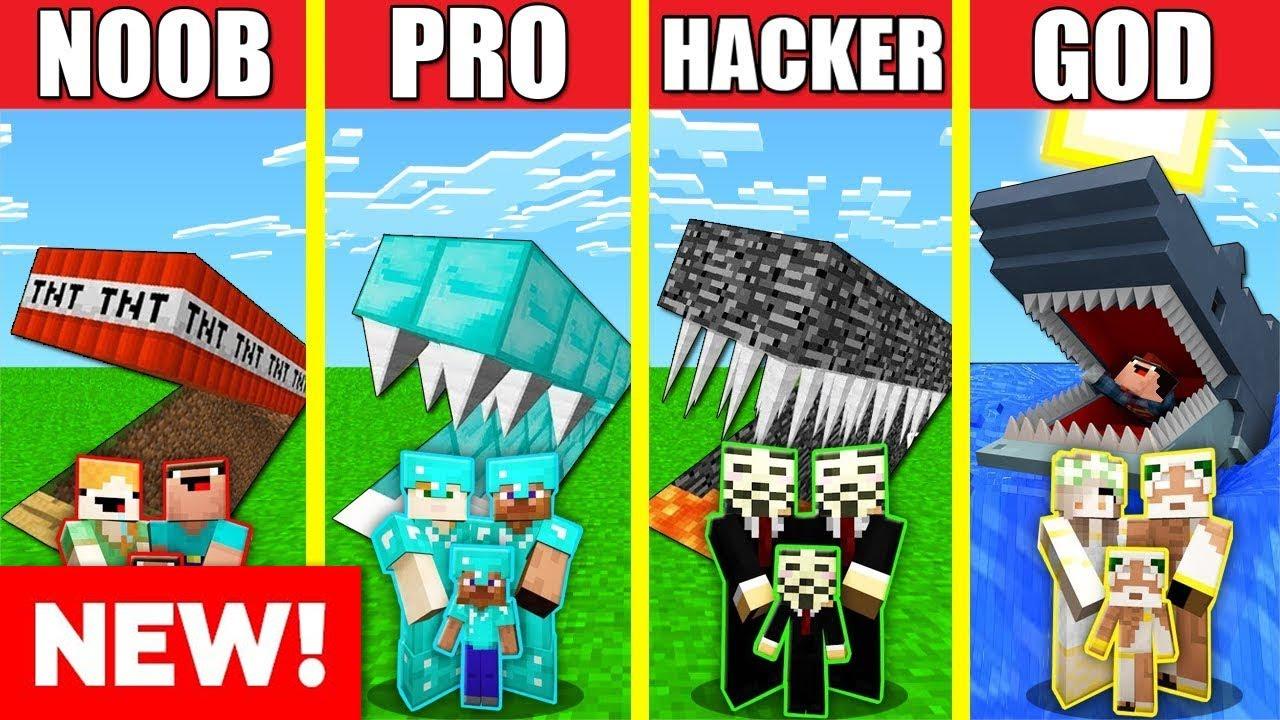 Minecraft Battle: UNDERGROUND HOUSE BUILD CHALLENGE - NOOB vs PRO vs HACKER vs GOD / Animation BASE