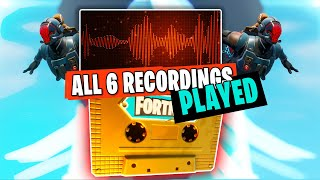 All 6 Visitor Audio Recordings Played  (All Secret Sound  Messages in Fortnite)